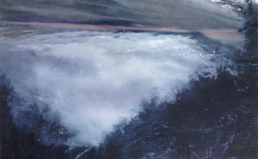 An original mountain oil painting on metal panel by artist Cynthia McLoughlin of a huge white storm cloud hovering over the horizon of the sea.