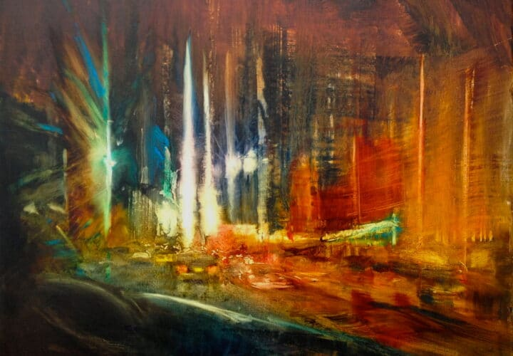 Cityscape original oil painting on metal by Cynthia McLoughlin