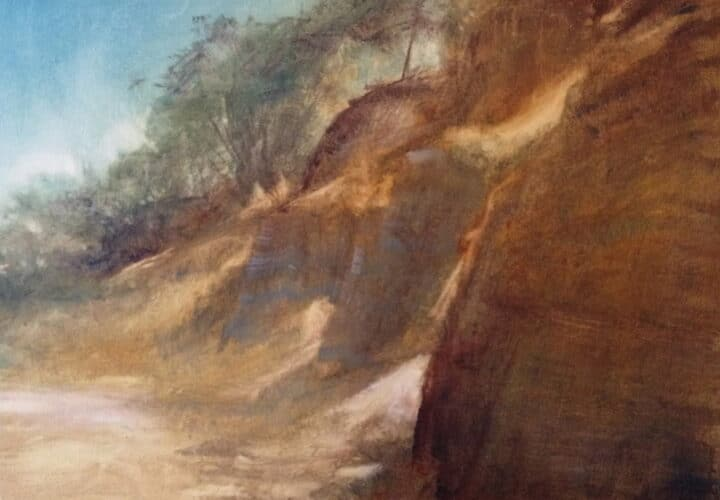 Painting of the dark, earthy cliffs on the beach with an aqua blue sky and wispy trees on the fringe of the cliffs.