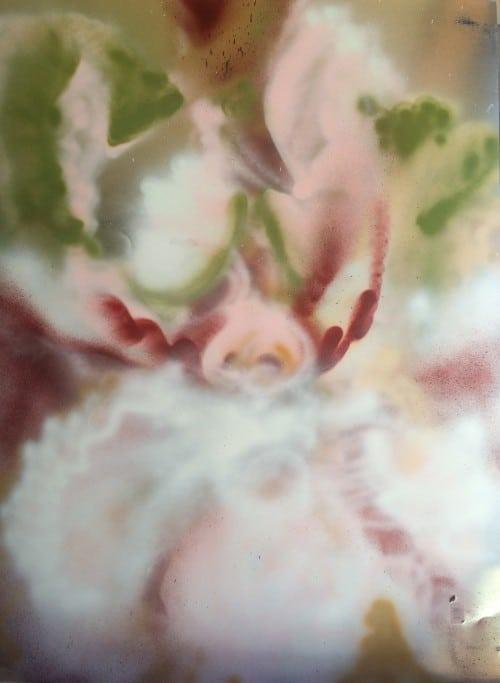 """""""Metamorphosis"""", 39"""" x 51"""", acrylic spray paint on steel, $7000"""