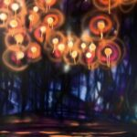 An original abstract oil painting on metal panel by artist Cynthia McLoughlin. Each glowing shot of color represents a soul lost in the Sandy Hook massacre.