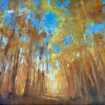 An original landscape oil painting on metal panel by artist Cynthia McLoughlin of a glimmering sun filtered through a forest of golden aspen trees.