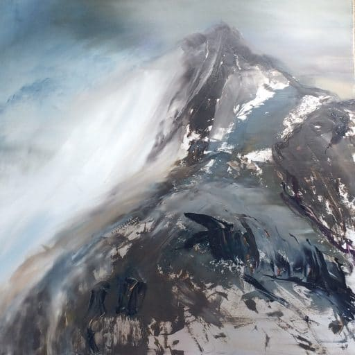 Oil painting on metal of a snow covered mountain.
