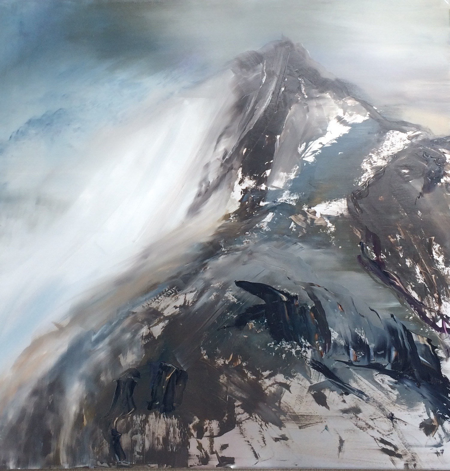 """First Snow"", by Cynthia McLoughlin, 40"" x 40"", Oil on steel, $5600"