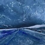 Oil on metal deep blue sky with swirling words and phrases over a tilted blue/grey road to infinity. cynthia mcloughlin © 2018