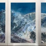 This three panel painting depicts the Wasatch Mountains in moonlight. I live in Park City, Utah, and am lucky enough to look at this beautiful mountain range from my studio. Day or night, it is ever inspiring to see the magnificence of our planet. I hope the viewer will feel calm, joy and a bit of mystery in the moonlight, contemplating how we can all preserve and enhance our planet.