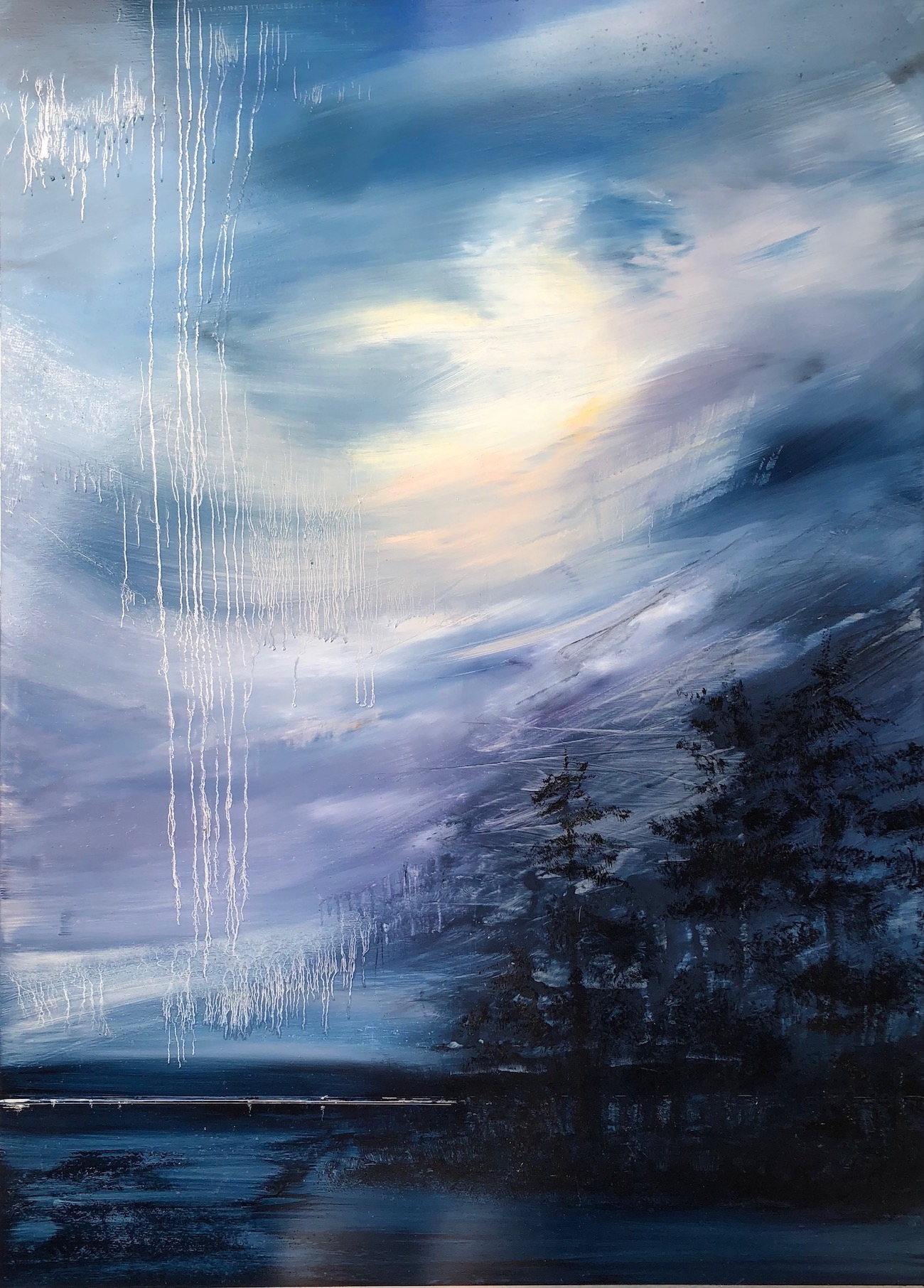 """Weeping Sky"", oil on aluminum, 39"" x 51"", $7000"
