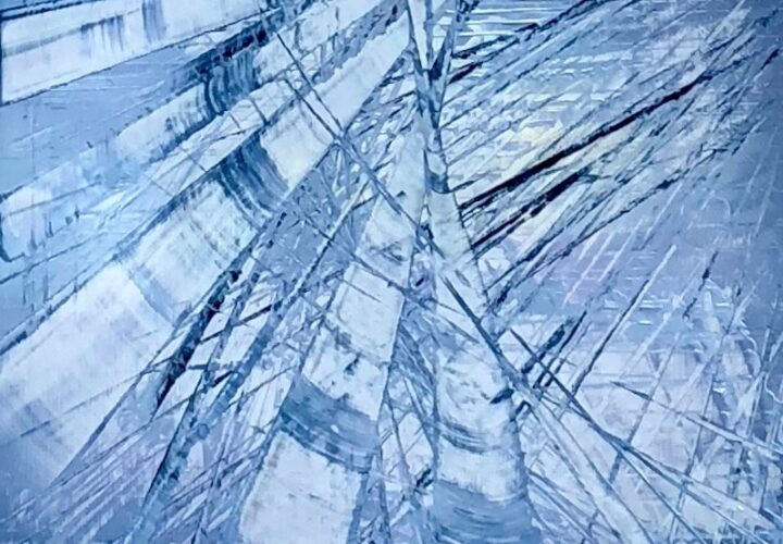 Abstract oil painting by Cynthia McLoughlin in silver and blues.