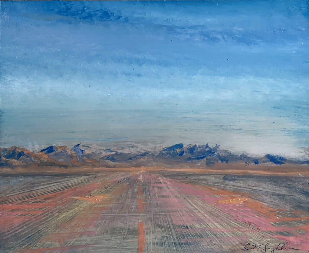 McLoughlin ©2018. Depicts a pink and orange runway heading straight for the blue mountains on the horizon with an aqua/blue sky.