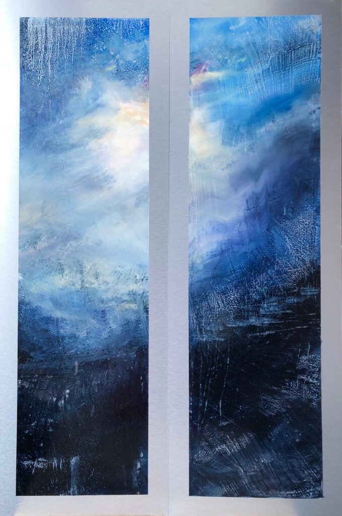 This abstract diptych suggests a moon rise. The sky is illuminated by the moon's warm, peachy glow, through the clouds. It is surrounded by mottled blue and and deep, purple clouds. The foreground is all in ambiguous shadow with drips and brushwork hinting at the organic wood.