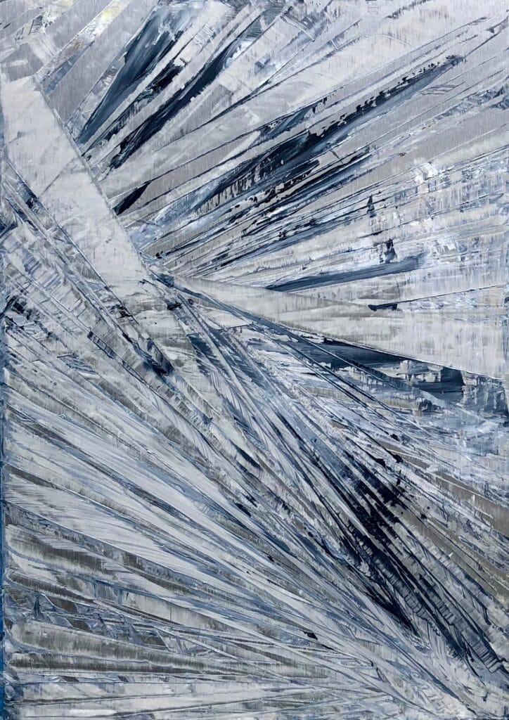 Abstract oil painting in blues and grey with metallic silver undertones by Cynthia McLoughlin in silver and blues.