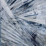 Abstract oil painting in blues and grey with metallic silver undertones, by Cynthia McLoughlin © 2018.