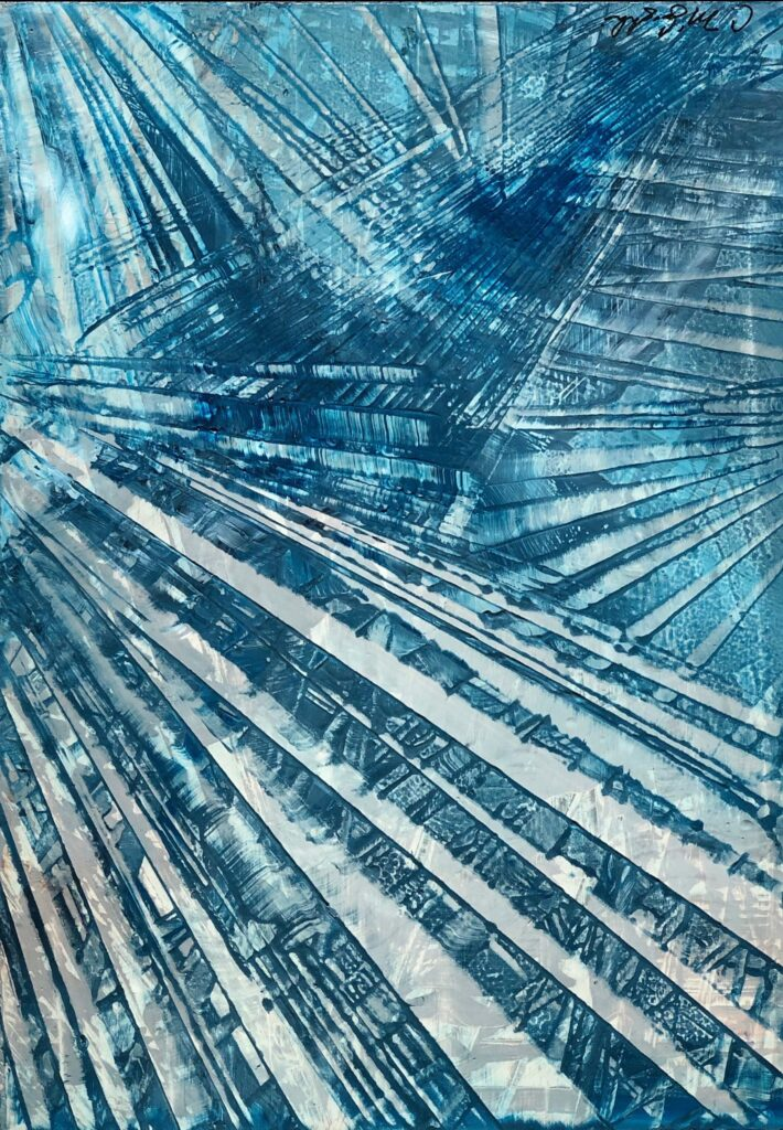 Abstract oil painting on metal in blue with exposed silver overlapping fan like hashmarks creating space.