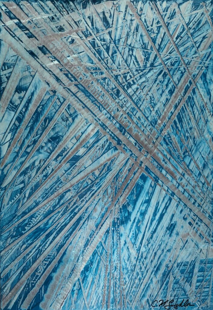 Abstract oil painting in blue with exposed silver overlaping hashmarks creating space.