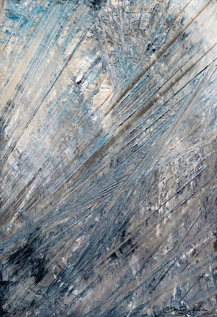 Abstract oil painting on metal in blue and white with exposed silver overlapping hashmarks creating space.
