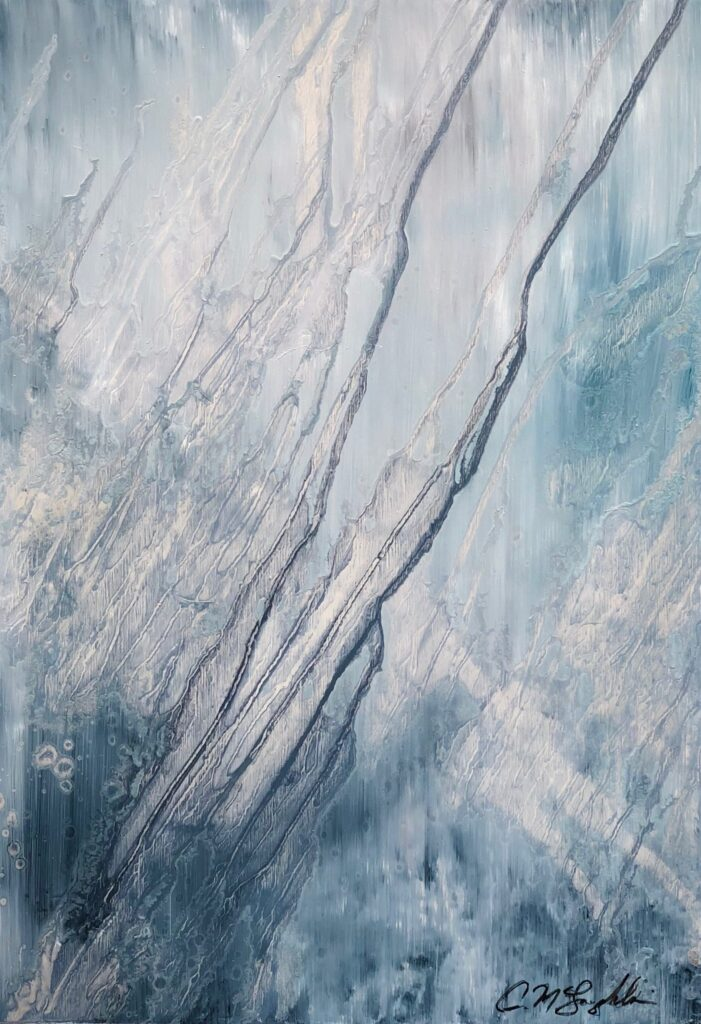 Abstract oil painting on metal in blue ombre with drips falling upward in a diagonal pattern.