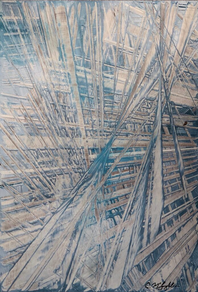 Abstract oil painting on metal in blue with exposed silver overlapping hashmarks creating space.
