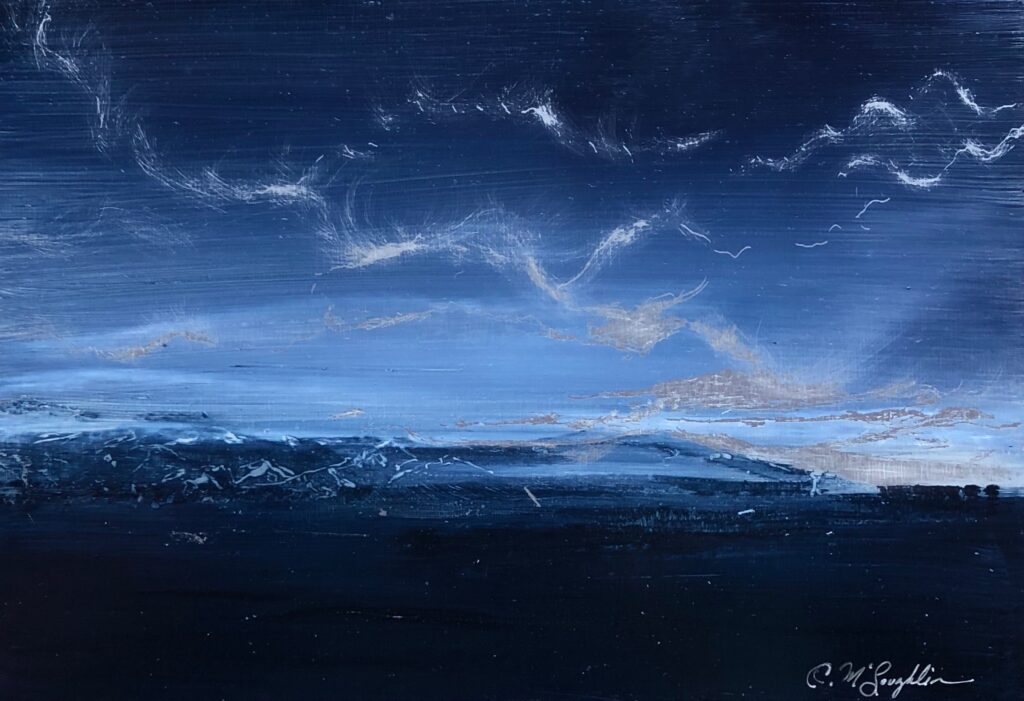 Oil on metal, indigo foreground with scraped mountains and clouds well after the sun has set.
