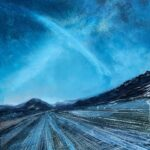 Oil on metal, deep blue sky over a tilted blue/grey road to infinity.