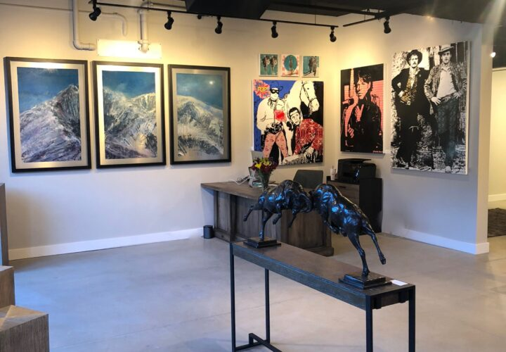 Mountain triptych oil painting on metal by Cynthia McLoughlin hanging in the Summit Gallery, Park City, Utah