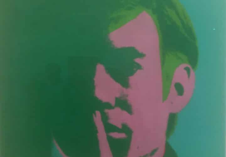 Andy Warhol in green and pink.