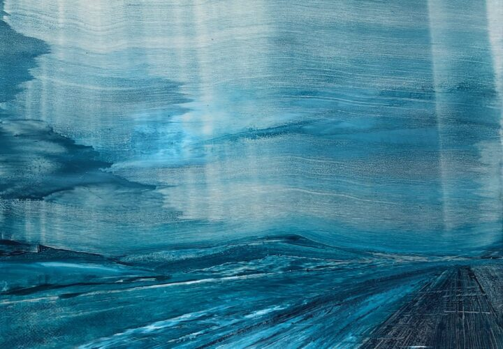 Oil painting of a teal wavy sky over a rigid road.