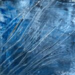 Original square abstract oil painting on metal in blues with silver scrapes reflecting light.