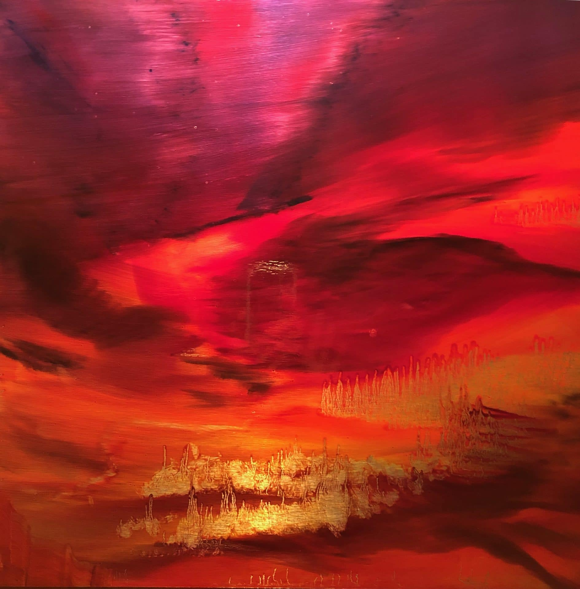 """Red Sky at Night #2, oil paint on a brushed aluminum panel, 27"""" x 27"""", $2250"""