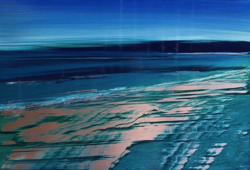An original oil painting by Cynthia McLoughlin. Twilight blue sky over a deep blue ocean, soft waves ripple along the silvery, wet, reflective, beach.