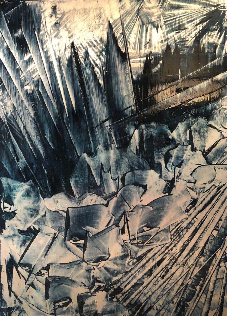 Original oil painting by Cynthia McLoughlin on metal panel, an abstract landslide through dark shadows with light behind.