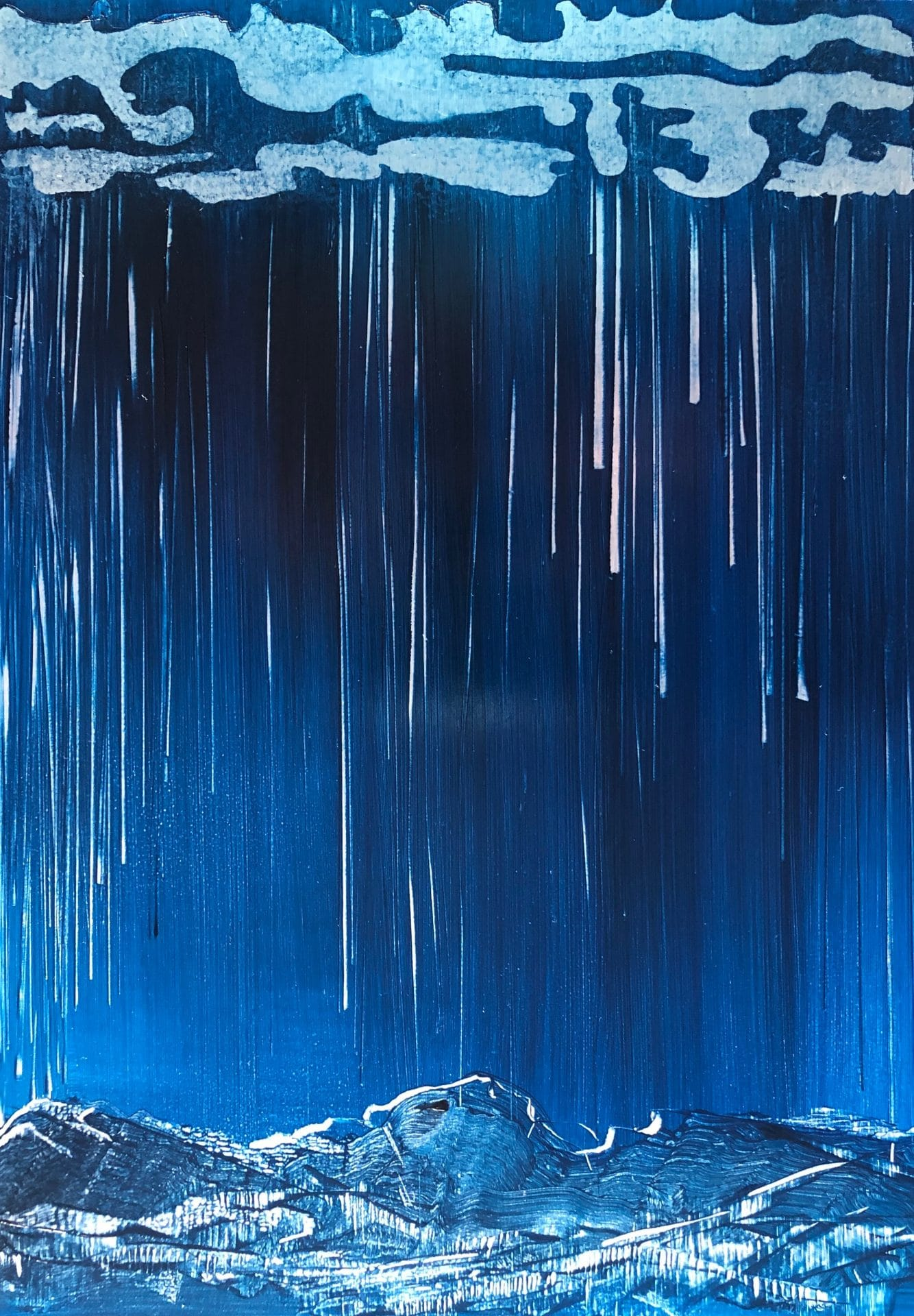 Original oil painting on metal by Cynthia McLoughlin of Miro style clouds raining silver streaks on the moonlit mountain below