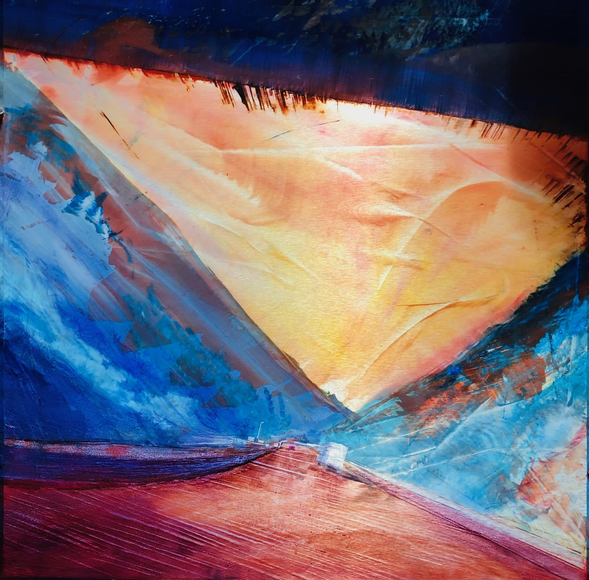 """Underpass, Into the Light, oil on brushed aluminum. 39"""" x 39"""", $5300"""