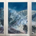 Original Landscape oil painting in triptych format of a moonlit mountain.