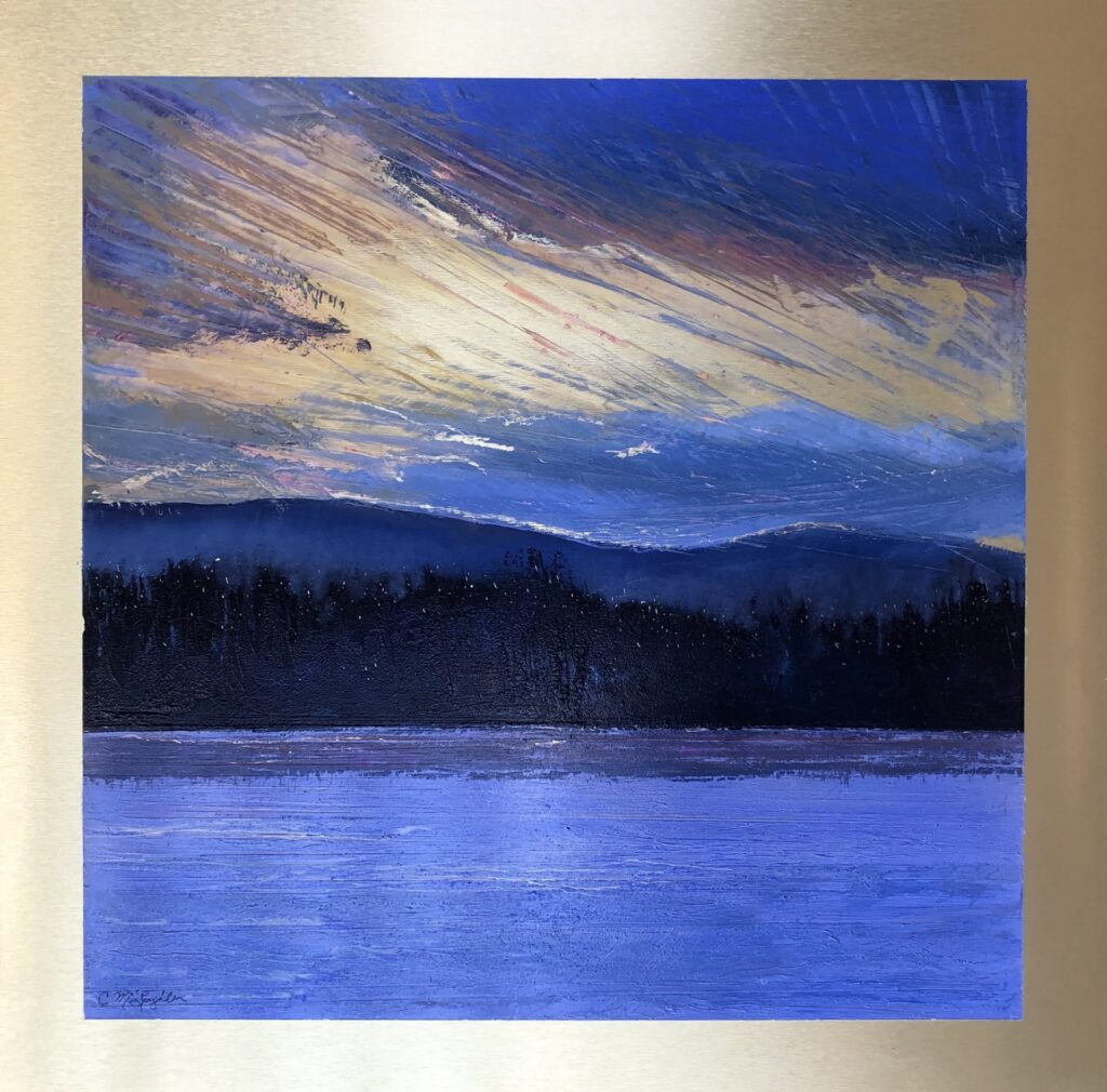 Sunrise, an original oil painting by Cynthia McLoughlin, in purple and gold.