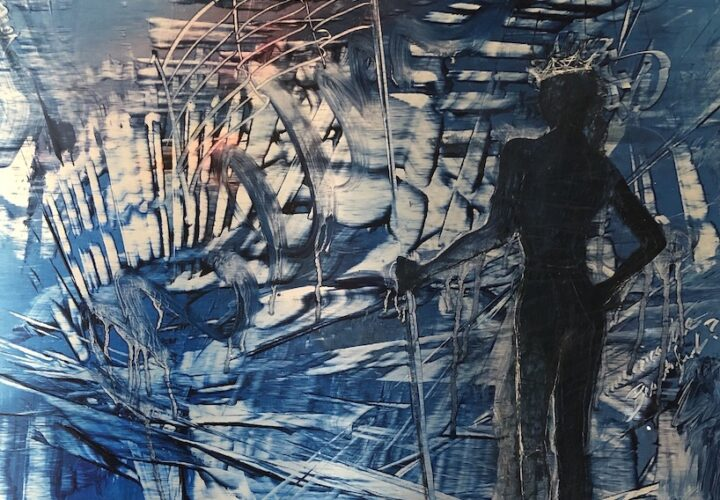 An original oil painting of a crowned, hero, shadow woman holding the American Flag while looking into the abstract chaos in front of her. An original oil painting of a crowned, hero, shadow woman holding the American Flag while looking into the abstract chaos in front of her. cynthiamcloughlin©2020