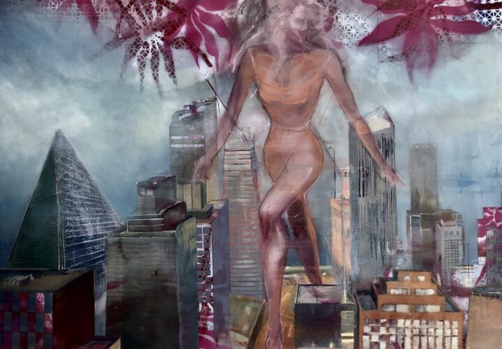 The ghostly siren Pestilence walks on to the island of Manhattan, surrounded by sky scrapers as she brings her spidery virus floating around her and seeping into the ground and buildings.