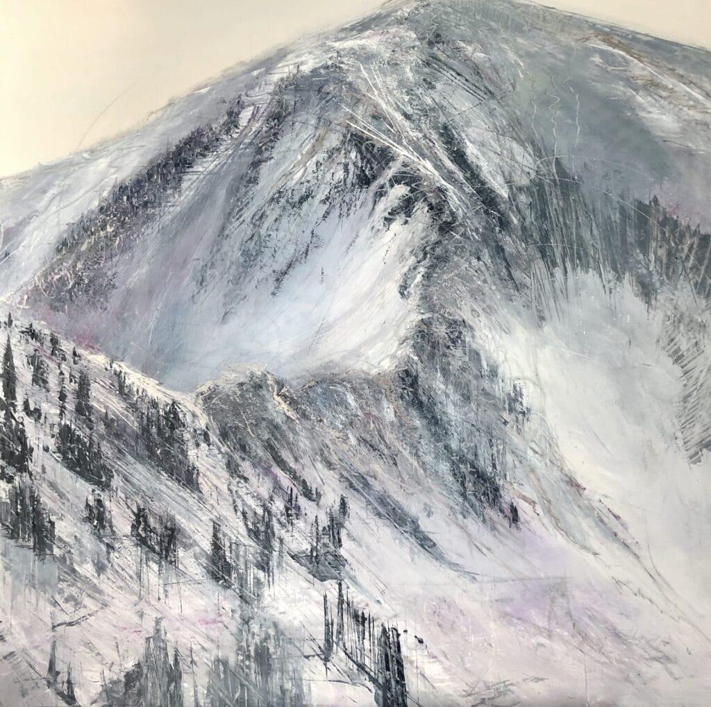 An original mountain oil painting on metal panel by artist Cynthia McLoughlin of the ridge of the mountain at the Snowbird Ski Resort..