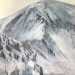 An original mountain oil painting on metal panel by artist Cynthia McLoughlin of the ridge of the mountain at the Snowbird Ski Resort..