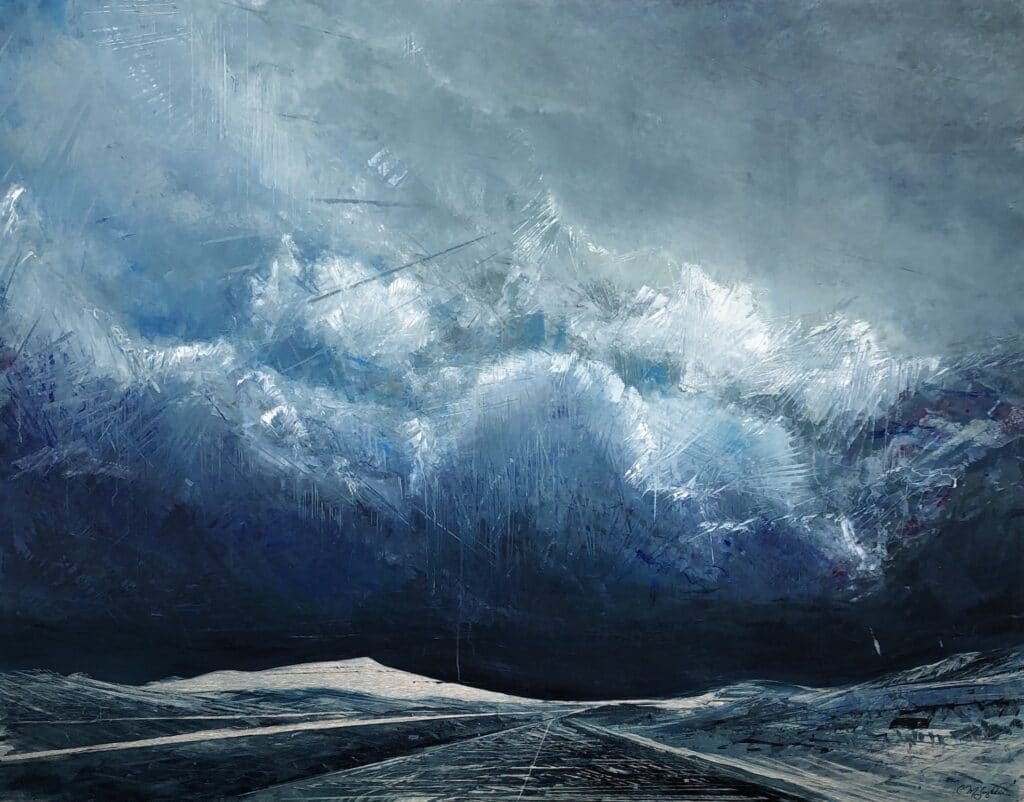 An original oil painting by artist Cynthia McLoughlin of a road stretching to infinity under a tumultuous sky in blues and white with silver highlights