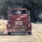 Painting detail of an antique red pick up truck from the front.