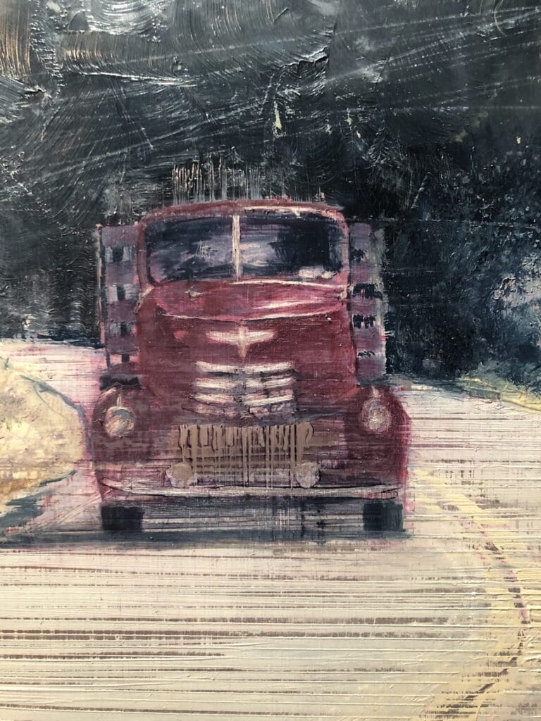 Painting of an antique, red truck rounding the bend in the road that echos the river beside it.  Misty, blue buttes shadow the boulders behind the truck.