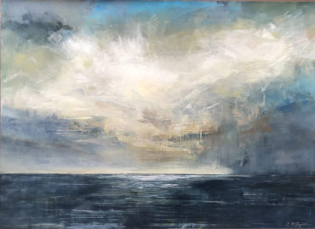 An original seascape oil painting on metal panel by artist Cynthia McLoughlin of a huge white storm cloud hovering over the horizon of the sea.