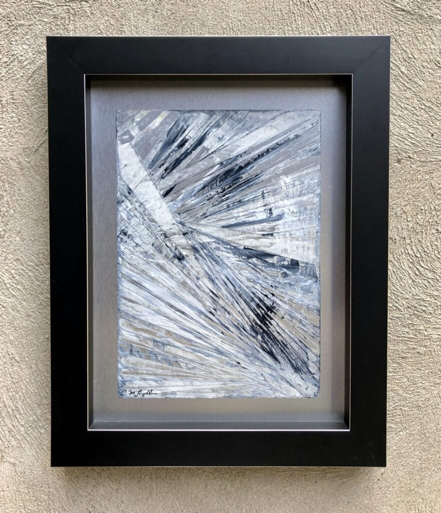 Framed abstract oil painting on metal panel by Cynthia McLoughlin in white and blue/gray.