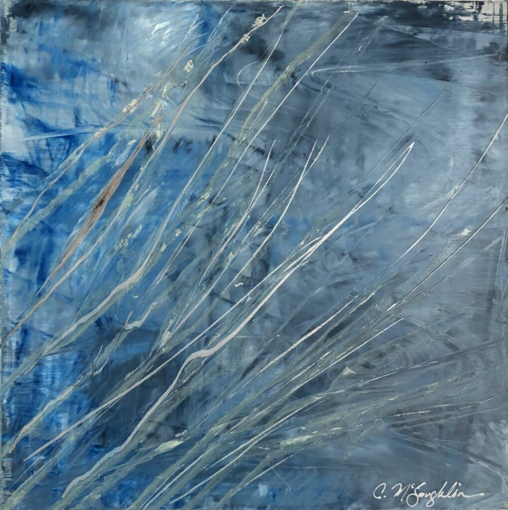 An original abstract oil painting on metal panel by artist Cynthia McLoughlin. Icy blues and grays are slashed with silver skate marks across the surface of this abstract painting.