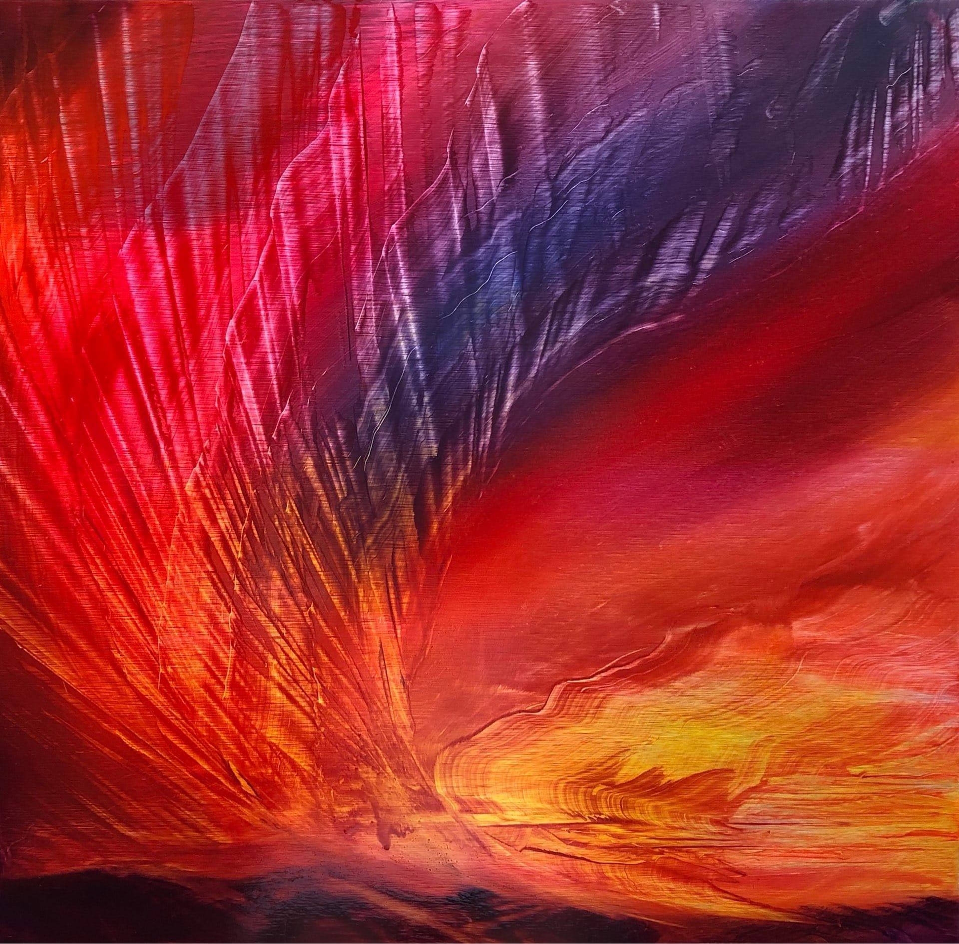 Amazon Burning, Contemporary oil painting on metal of fires in the Amazon, Fine Art by Cynthia McLoughlin