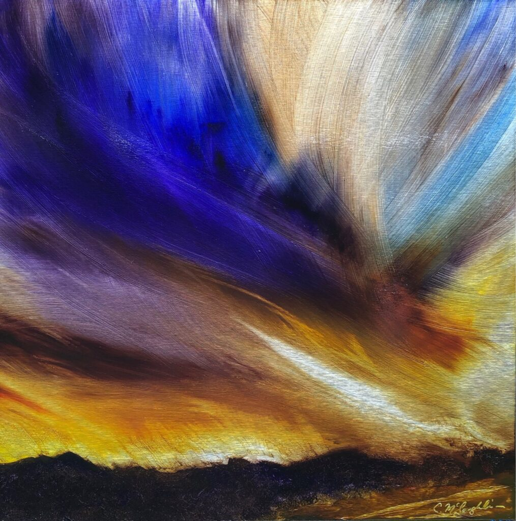 Awakening, Contemporary oil painting on metal of a sunset in Park City, Utah, Fine Art by Cynthia McLoughlin