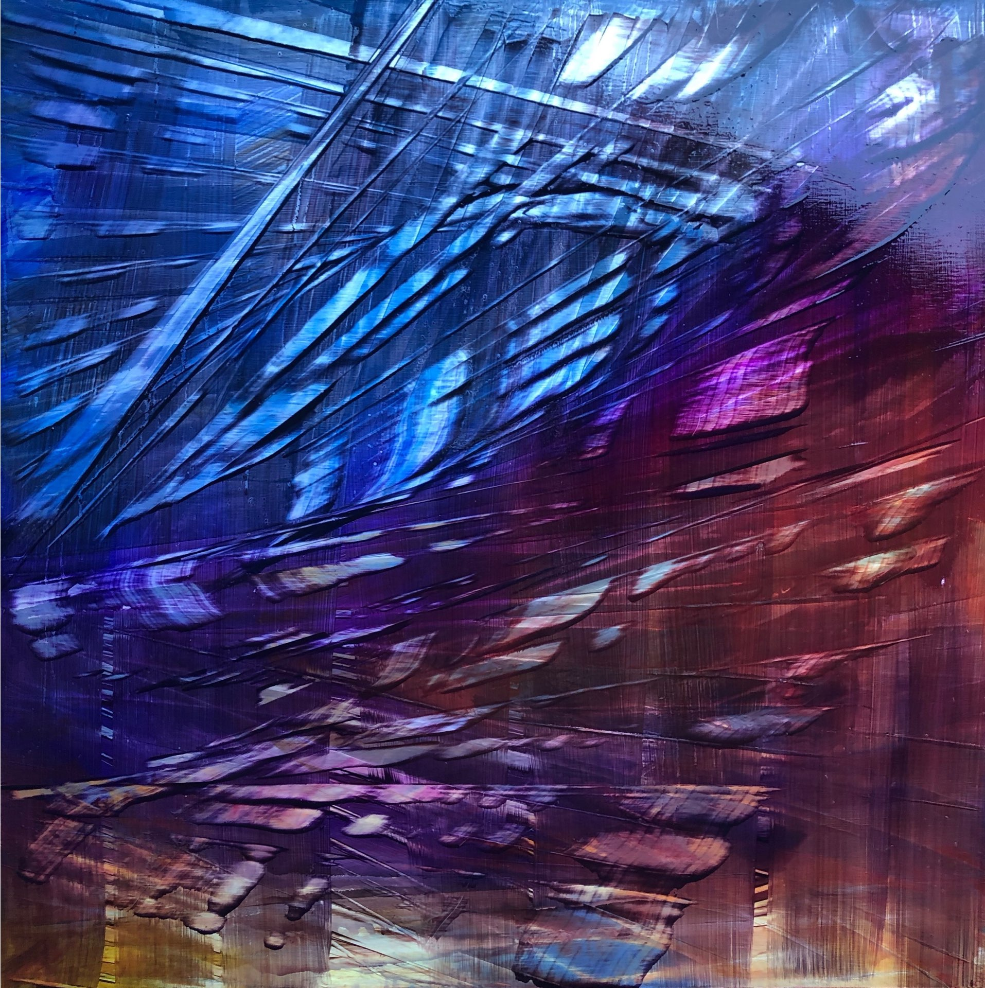 Butterfly Wings, Contemporary oil painting on metal, abstract wings of a butterfly, Fine Art by Cynthia McLoughlin