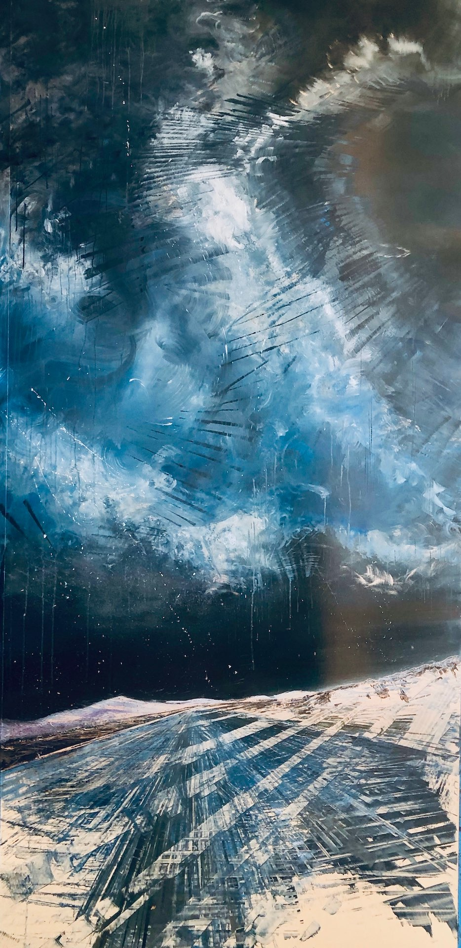 Celestial Rhapsody, Contemporary oil painting on metal of a super storm in Park City, Utah, Fine Art by Cynthia McLoughlin