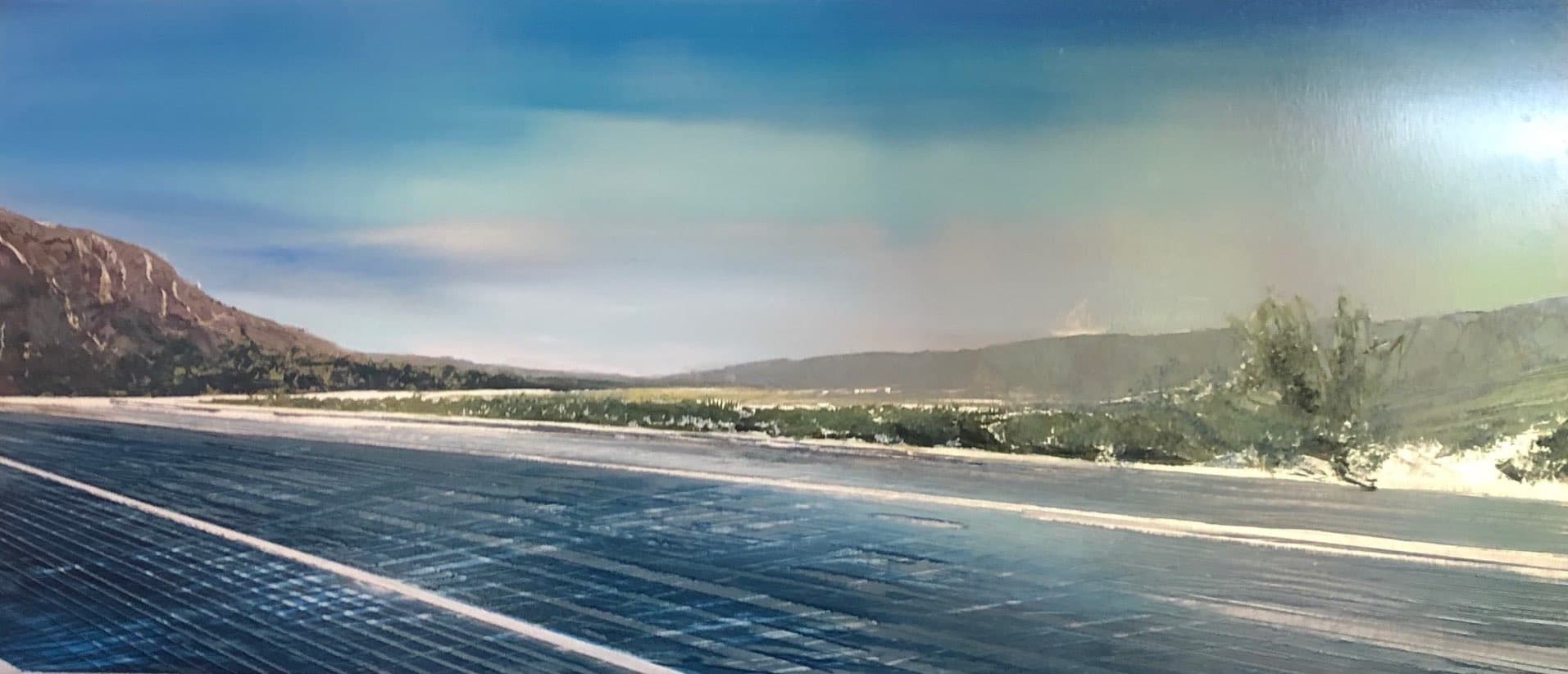 Desert Highway, Contemporary oil painting on metal in wide format of a desert road, Fine Art by Cynthia McLoughlin
