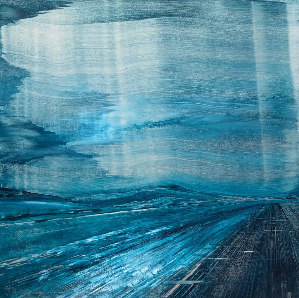 Dreamscape #1, Contemporary oil painting on metal of a memory of a dream, abstract art monochromatic blue, Fine Art by Cynthia McLoughlin